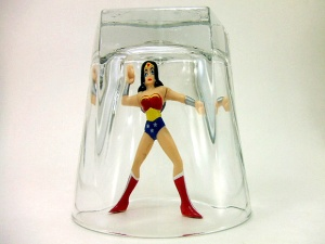 super woman in glass